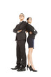 young businessman and businesswoman standing together