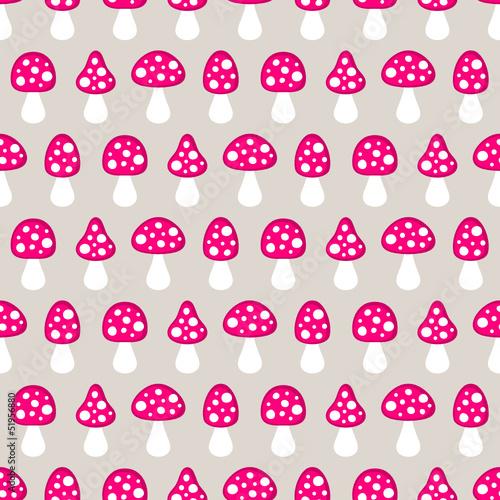 Seamless Pattern Fly Agarics Pink/Beige