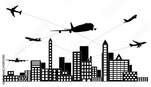 Airplane shipping around the city vector.