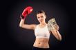 Постер, плакат: девушка в боксерской перчатке с деньгами