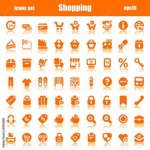 icons orange shopping reflex