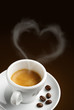 coffee cup with steam in shape of heart
