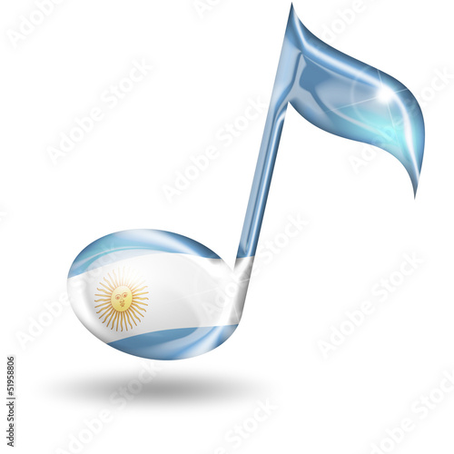 musical note with Argentine flag  colors