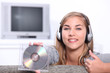 Young woman holding a CD