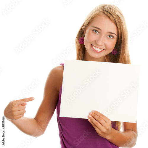 Woman with blank board banner