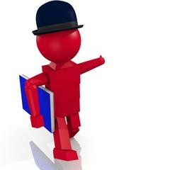 Omino 3D con libro e cappello