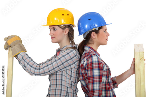 Two female carpenters