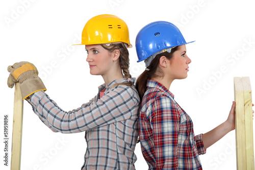 Two female carpenters