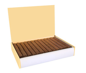 Cuban cigars box isolated on white background