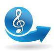 musique sur bouton web bleu