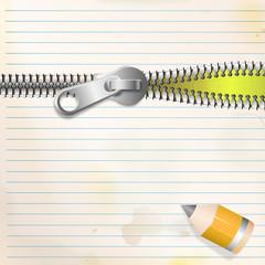 Liniertes Papier mit Zipp und Stift