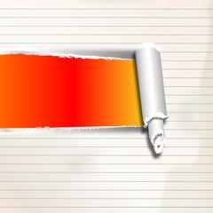 Linierter Zettel mit Riss (orange-rot)