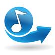 note de musique sur bouton web bleu