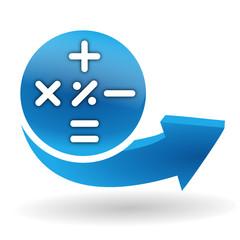 calculatrice sur bouton web bleu