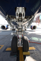 Airplane view from landing gear