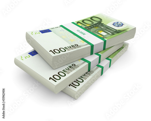 Euro bills stacks