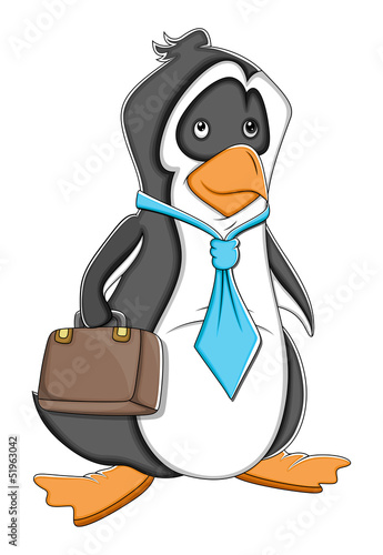 Office Cartoon Penguin Vector Illustration