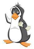 Job Search Cartoon Penguin Vector Illustration