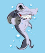Funny Cartoon Shark Vector Illustration