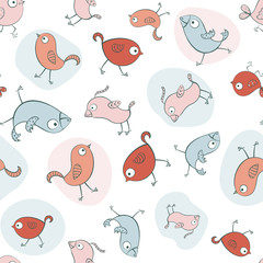 Seamless pattern with cartoon birds