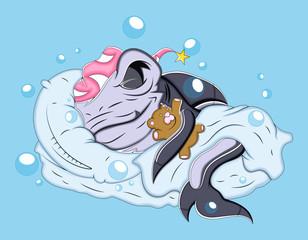 Sleeping Cartoon Shark Vector Illustration