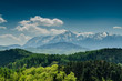 Mountains With Blue Sky And Forrest Scenery