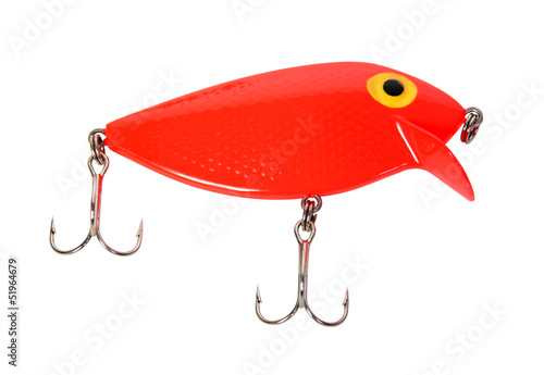 red fishing hook isolated