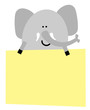 Elefant mit Schild