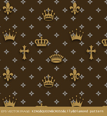 eps Vector image:KING&QUEEN&CROSS&Lily&Diamond pattern