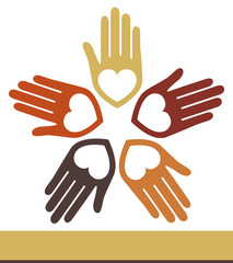 United hands and hearts design.