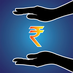 Vector illustration of protecting or safeguarding indian rupee
