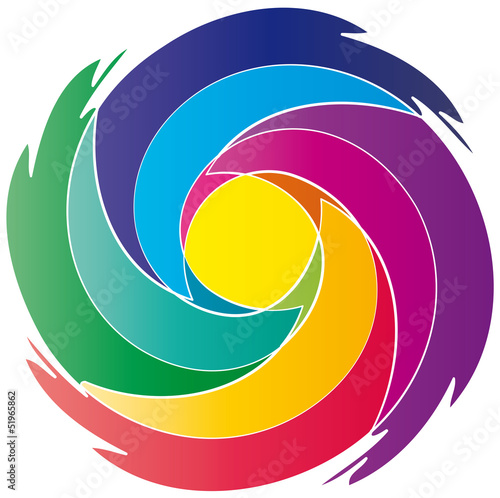 Meditation - farbiger Strudel rund - Logo