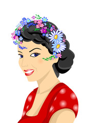 Illustration of beautiful woman with wreath