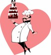 Chef with wedding cake and a heart on the background