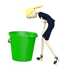 3d render of cartoon character with bucket