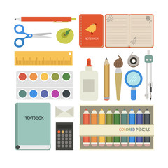 Vector set of cute school objects
