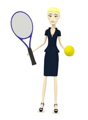 3d render of cartoon character with tennis ball and racket