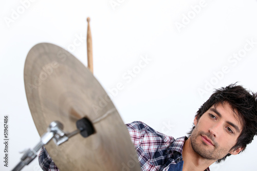 Cool male drummer