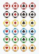 colorful poker chips sets