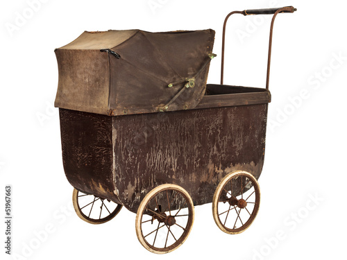 Nineteenth Century baby pram isolated on white