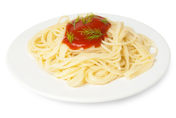 spaghetti with tomato sauce and dill