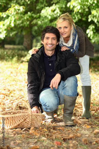Couple going mushroom picking.