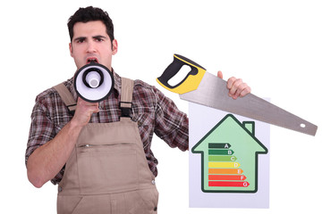 Carpenter with an energy rating sign