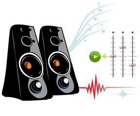 Speaker on white background. Recording Studio
