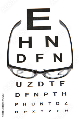 eye test chart and black glasses