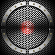 Red and Metal Background with Grid and Circle