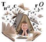 School Boy Reading Book with Letters