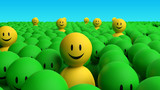 Some 3d yellow men come out from a green crowd