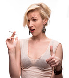 Emotional sexy woman posing with cigarette