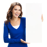 Young woman with blank signboard